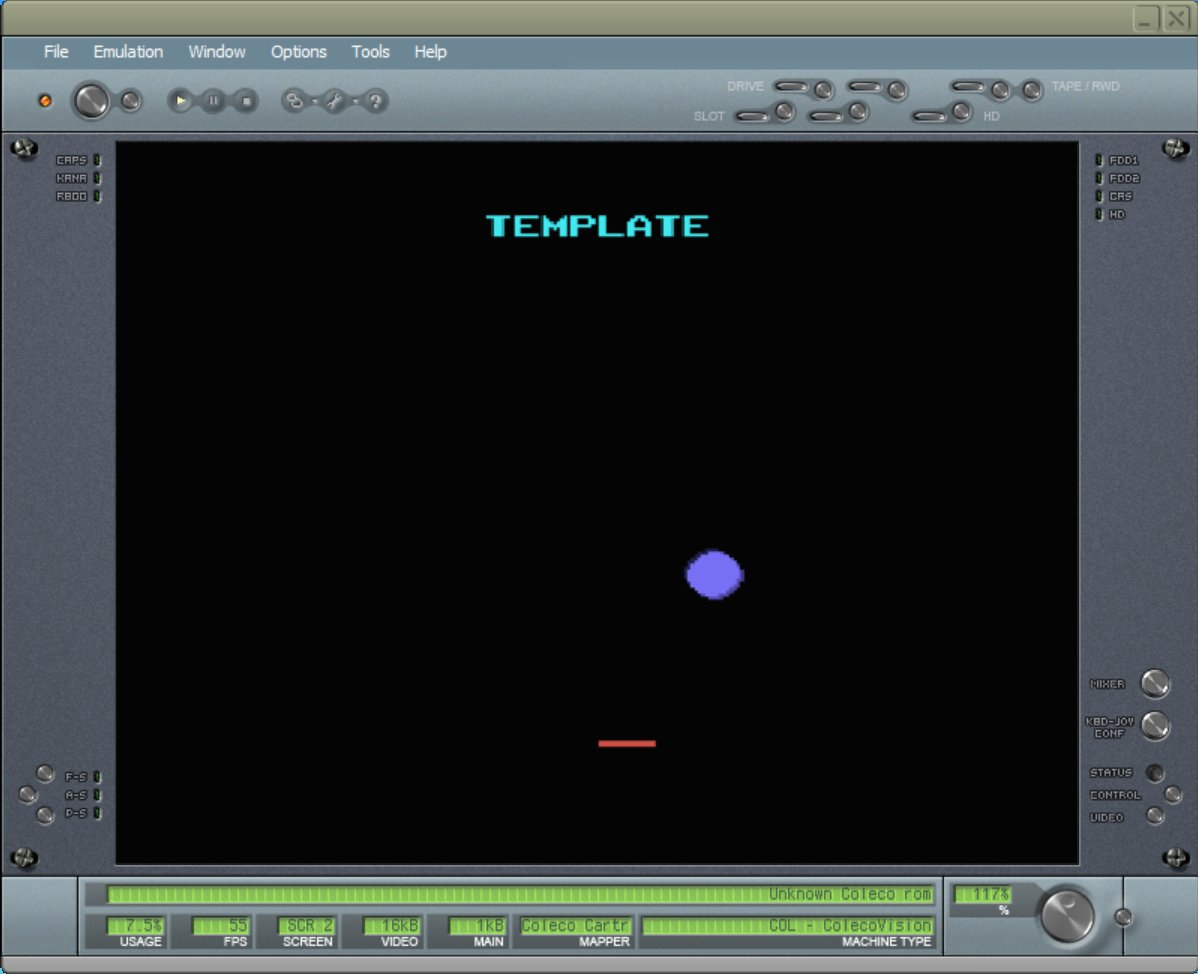 BlueMSX running ColecoVision Template